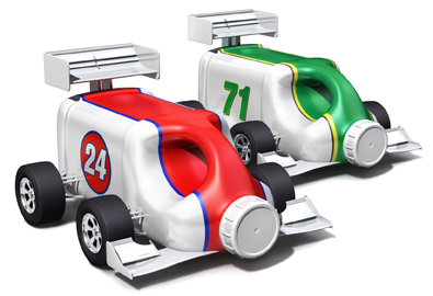 Race car product jugs for Growing Point magazine article